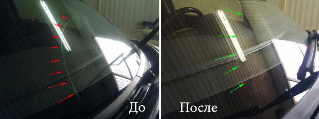 Результат полировки лобового стекла автомобиля