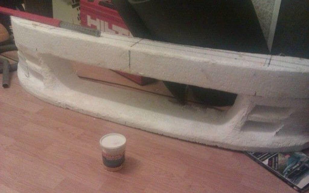 Тюнинг бампера с помощью пенопласта