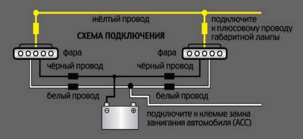 Схема подключения ДХО на Ваз 2107