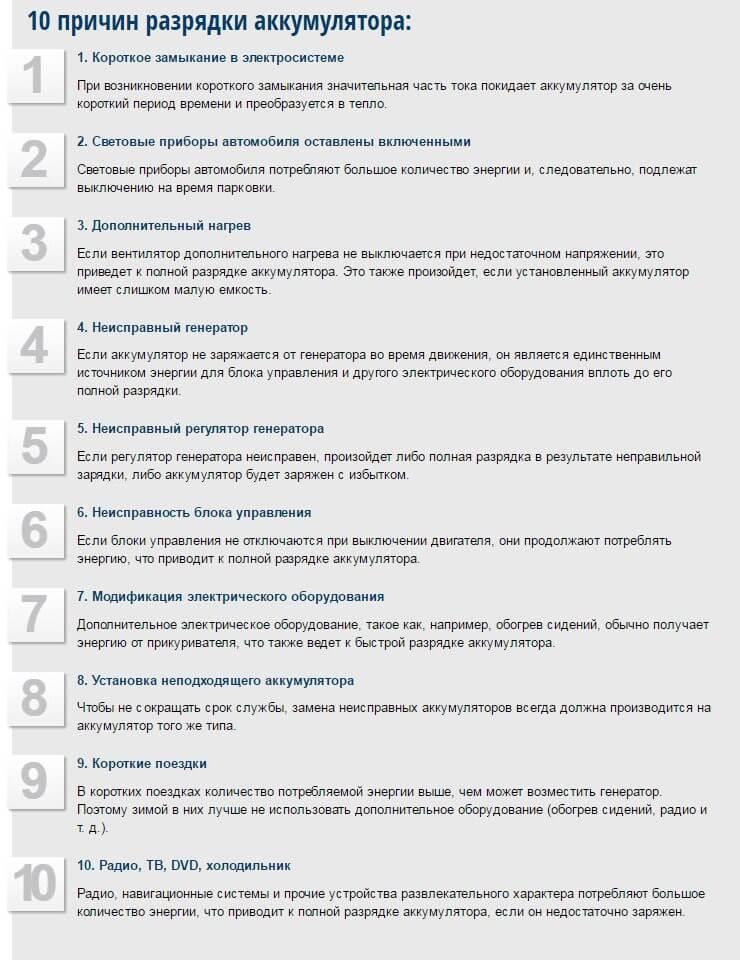 Основные причины разрядки АКБ