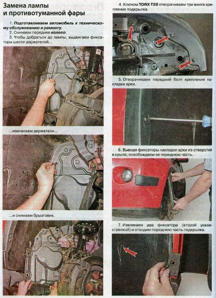 Замена лампы противотуманной фары Nissan X-Trail T31